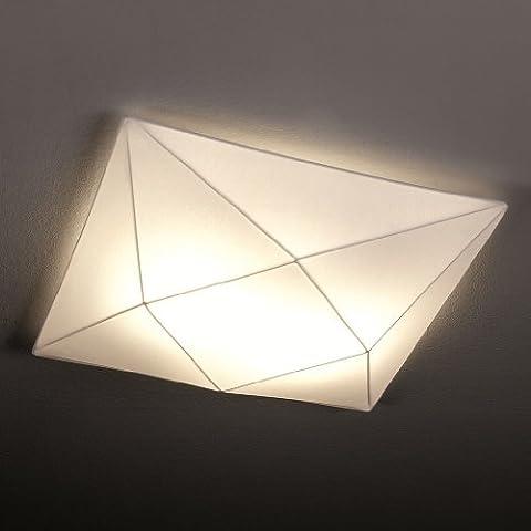 Olé by Fm Iluminación - Lámpara de techo plafón Polaris 42x42 con estructura metálica y tela elástica, color Blanco