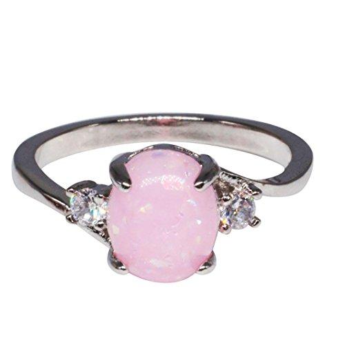 Schmuck Damen-Ring, Dragon868 Exquisite Ring Oval Cut Feueropal -Schmuck Geburtstagsgeschenk Geschenk Braut Verlobungsfeier Band Ringe Band Ringe (Rosa 11) (Rose Ring Saphir Rosa Gold)