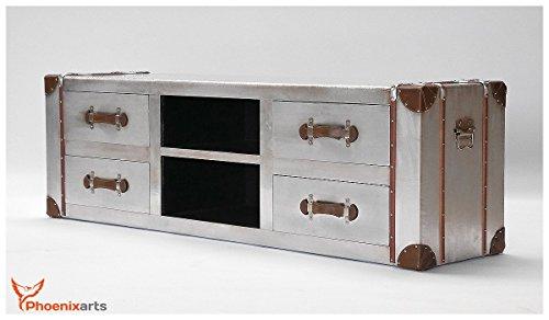 Phoenixarts Industrie Design Vintage TV Sideboard Schrank Aluminium Truhe Lowboard Loft Möbel 501 - 3