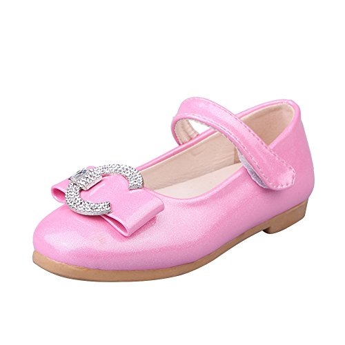 Amur Leopard Ballerine Enfant Fille Chaussure princesse à talons PU CUIR Diamant Rose clair