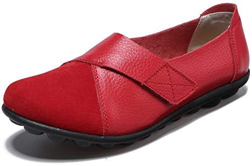 Yooeen Damen Mokassins Bootsschuhe Leder Arbeitsschuhe Freizeit Flache Loafers Halbschuhe Fahren Sandalen Klettverschluss Erbsenschuhe