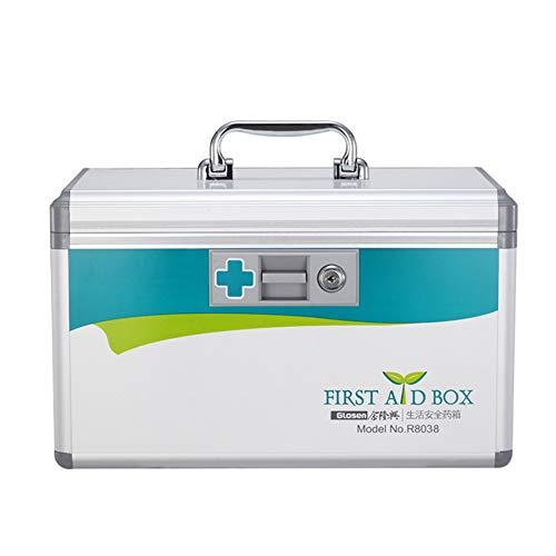Erste-Hilfe-Set - Aluminium-Sicherheitsset Für Den Haushalt Medizinisches Erste-Hilfe-Set Medizinbox Aufbewahrungsbox (25.5 * 17 * 17 Cm)