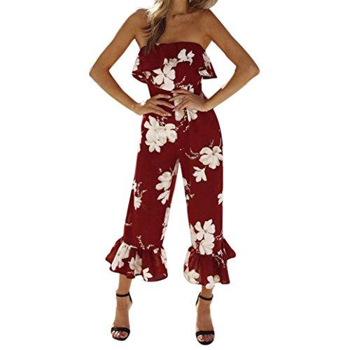 Jumpsuit Damen Sommer LHWY Frauen Trägerlosen BH Tops Gedruckte Siamesische Hose Locker Casual Clubwear Cocktail Party Kostüm Rot (XL, Rot) (Trägerlosen Bh Teen)
