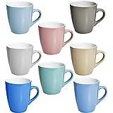 esto24 8 XXL Kaffeebecher Set Keramik 380ml in 8 schönen Pastell Farben