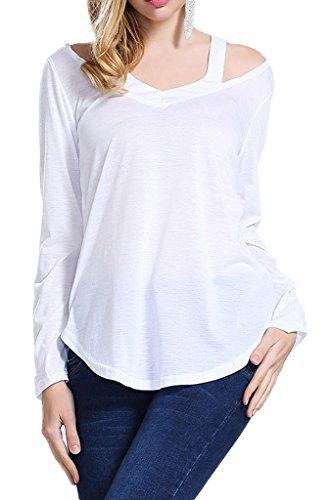 Smile YKK Femme Veste T-shirt Irréguliers Tops Casual Femme Uni Blanc
