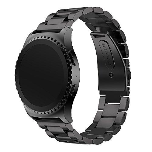 Gear S2 Classic/Gear Sportarmband AISPORTS 20 mm Edelstahl Smart Watch Band Ersatzarmband Armband für Samsung Gear S2 Classic R732 / R735 / Gear Sport R600 / Moto 360 2. Generation 42 mm Schwarz (Metall Moto 360 Watch Band)