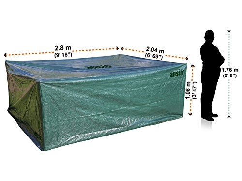 ANSIO Garden furniture cover Large Patio Cover Set Outdoor Waterproof, Dust Proof, Rectangular cover – Size 2.8 M x 2.04 M x 1.06 M / 9.2 ft x 6.7 ft x 3.48 ft