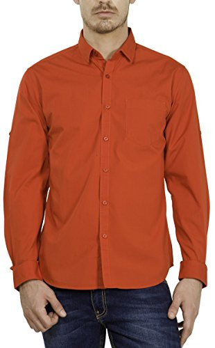 Highlander Men's Casual Shirt (13110001459386_HLSH008872_Large_Rust)  available at amazon for Rs.399