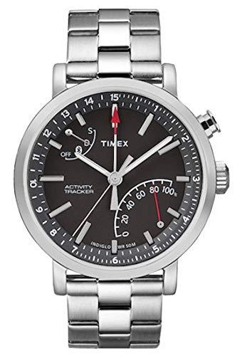 Timex Metropolitan + Bluetooth Black, Brushed Steel, Stainless Steel Sport Watch–Sport Uhr (Black, Brushed Steel, Stainless Steel, Stainless Steel, Water Resistant, Leather, Mineral, Glass)