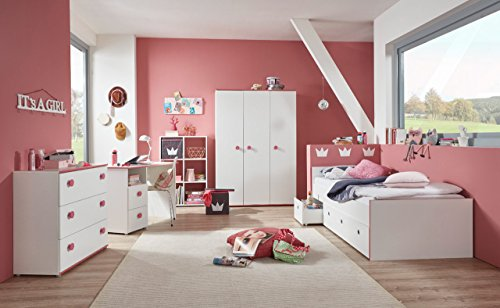 lifestyle4living Jugendzimmer, komplett-Set, Mädchen, Jugendzimmermöbel, Kinderzimmer, Kindermöbel, Kleiderschrank, Bett, 5-teilig, weiß, pink, rosa