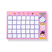 Unicoco Monthly Planner Stickers Cartoon Self Adhesive Calendar Planner Planner Book To-Do List Message Note Pink