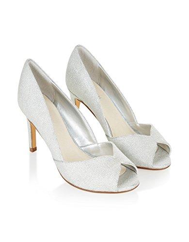 Monsoon Esme funkelnde Peeptoe-Schuhe Silber