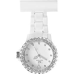 Krazy Nurse Prestige - Montre Infirmière Originale PVC Blanc Diamants Cz KRAZY 59