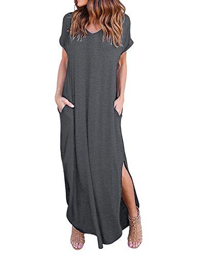 Yidarton Damen Sommerkleid Casual V-Ausschnitt Kurzarm Tasche Side Split  Beach Long Maxi Kleid (S, Grau) 36d4d11e7f