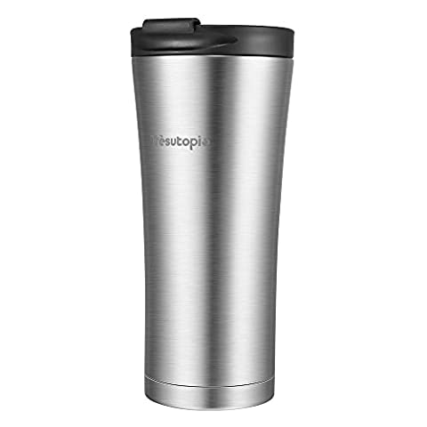 Trèsutopia Hekla Leakproof Travel Mug Insulated Stainless Steel Flask Keep Drinks Hot and Cold with Leak-Proof PP Lid, 400 ml, One-hand Operation