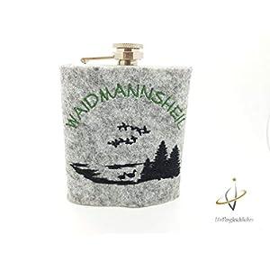 Edelstahl-Flachmann 200 ml Filz, Wald, Jagd, Jäger, Wanderlust, Wandern, Trecking, Bergwelt, Berge, Adventure