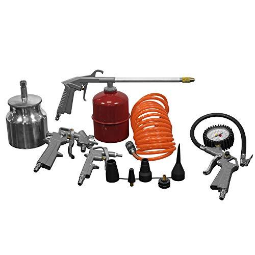 Druckluft Set 5-teilig für Kompressoren 5 m Schlauch, Sprühpistole, Spritzpistole Reifenfüllmesser, Ausblaspistole