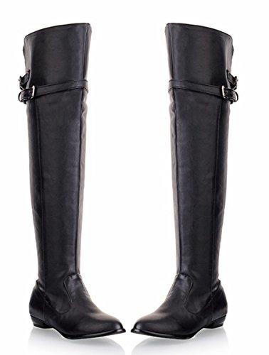 YE Damen Flache Thigh High Boots overknee Stiefel mit Schnallen und Reißverschluss Winter wasserdichte Schuhe Schwarz