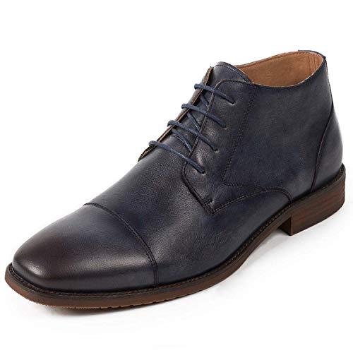 Shoe house Mens Winter Ankle Dress Boots Slip auf Monk Strap Buckle Comfortable Chukka Plain Toe Leather Oxford Boots for Men,Ablue,EU44/US10(M)/UK9.5 Plain Toe Slip