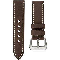 Uhrenarmband StrapJunkie Echtes Leder Vintage Design Dunkelbraun 24mm