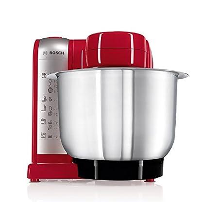 Bosch-MUM4-MUM48R1-Kchenmaschine-600-W-3-Rhrwerkzeuge-aus-Edelstahl-splmaschinengeignet-Rhrschssel-39-Liter-max-Teigmenge-20kg-Durchlaufschnitzler-3-Scheiben-rot