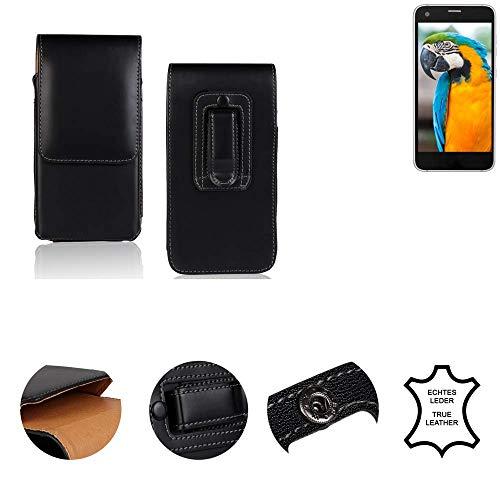 K-S-Trade® Gürtel Tasche Für Vestel V3 5040 Handy Hülle Gürteltasche Schutzhülle Handy Tasche Schutz Hülle Handytasche Seitentasche Vertikaltasche Etui, Leder Schwarz, 1x