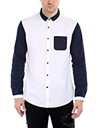 Dennis Lingo Men's Cotton White & Navy Blue Solid Color Block Casual Shirt