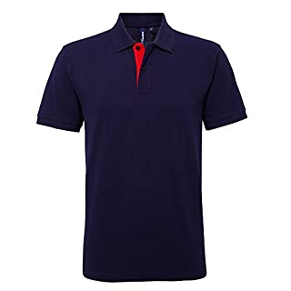 Asquith & Fox Asquith and Fox Men's Classic Fit Contrast Polo Shirt, Multicolour (Navy/Red 000), Large (Size:Large)