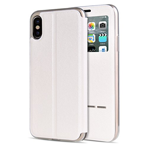 "MOONCASE iPhone X Flip Cover, [Window View Style] PU Cuir Étuis Case Built-in Support TPU Antidérapant Housse de Protection pour iPhone X 5.8"" Or Rose Blanc"
