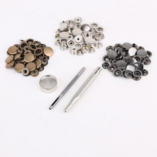 30 Set 15mm Metall Druckknöpfe Silber Altgold Silbergrau & 3tlg Werkzeug Locheisen Handschlageisen nähfrei Leder Kunstleder Basteln DIY