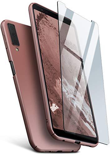 moex 360 Grad R&um-Schutz [Case + Panzerglas] für Samsung Galaxy A7 (2018) | Extrem dünne Handyhülle in Rose-Gold inkl. kristallklare Schutzfolie aus Hartglas