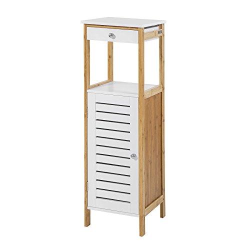 SoBuy® Columna de baño baja, Armario para baño con una puerta y un estante y un cajón,armario, FRG168-WN, ES
