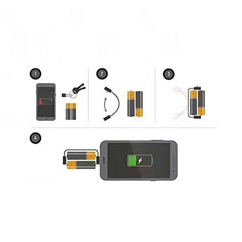 ELECTROPRIME® Portable Pocket AA Battery Powered Emergency Travel Phone Charger Black
