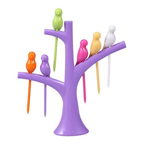 BESTONZON 6 Stück Obstgabeln mit Vögeln auf dem Baum Kunststoff Dessert Kuchen Geschirr Party Cocktail Picks und Gabeln (lila)