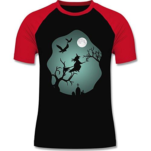 - Hexe Mond Grusel Grün - L - Schwarz/Rot - L140 - Herren Baseball Shirt (Baseball-fledermaus-kostüm)