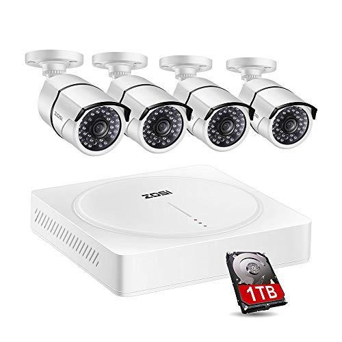 ZOSI 4CH - Sistema di videosorveglianza Ultra HD DVR da 5 MP, con 4 telecamere di sorveglianza esterne da 5 MP e 1 HDD da 1 TB, per interni ed esterni, visione notturna da 30 m