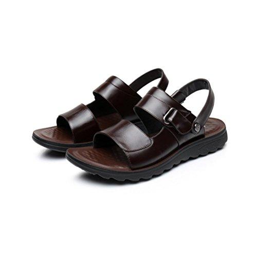 Männer Leder Braun Schwarz Sandalen Sommer Neue Ausschnitte Weiche Sohle Schuhe,Brown-25.5(CM)=10.03(inch)=EU40=6.5UK=label(41) (Brown Herren Neue Label)
