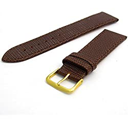 Men's Genuine Leather Watch Strap Lizard Grain 18mm Brown with Gilt (Gold Colour) Buckle 617g/18