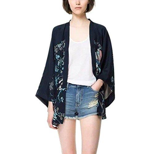 Yalatan Cardigan Kimono Jacket Bats Sleeve Lady Shawl Harajuku Phoenix Printed Loose Women Tops -
