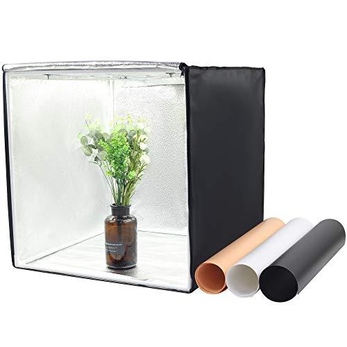 LED40cm-Lichtbox, 2 LED-Panels (5500k), dimmbare LED-Stromversorgung, tragbares Mini-Faltzelt mit 3 Klammern (PVC/PVC / Schwarz/Orange / Weiß) verwandelt Ihr Image in einen E-Commerce -