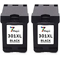 7Magic Cartucho Remanufacturado de Tinta HP 301 XL (2 Negro) de Alta Capacidad Compatible con HP Deskjet 2540 1510 1050a 1050 3050 Officejet 4630 Envy 5530 4500 de Impresora