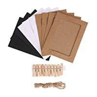 Mixed Colors Paper Photo Frame Set with Wooden Clip and String 30PCS/Set Wall Photo Frame Hanging Picture Album Party Decoration