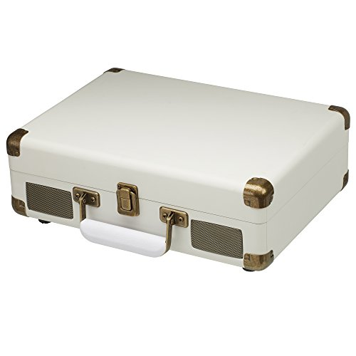 Retro Style Briefcase Record Player Vinyl Turntable, Portable Deck with Built in Stereo Speakers by Zennox (Cream)
