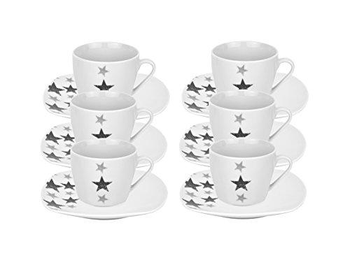 6er Set Espressotassen mit Espressountertassen Stars