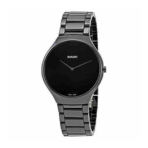 Rado Men' s true Thinline 39mm Black Ceramic Band & case Quartz Watch R27741182