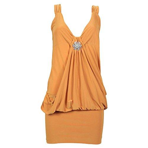 Drapé Broche pour femme Mini robe en haut pour femme Robe Tailles 8 à 20 Jaune - Moutarde