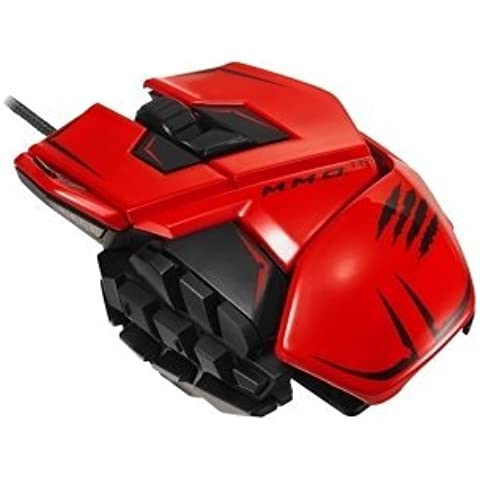 Mad Catz MCB437140013/04/1 Catz M.M.O. TE Gaming Mouse for PC & Mac - Laser - Cable - Red - USB 2.0 - 8200 dpi - Computer - Scroll Wheel - 20 Button(s) by Mad Catz