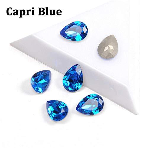 PENVEAT Tropfen Glas Strasssteine   mit Klaue annähen Teardrop Kristall Stein Strass Diamant Metall Basis Schnalle DIY Hochzeitsdekoration, Capri Blau, 13x18mm-8St