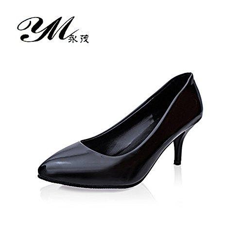 TMKOO 2017 nouveaux talons a la bouche peu profonde fines avec des chaussures en cuir verni solides 6cm chaussures de mariage professionnel Noir