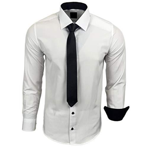 Rusty Neal 44-KR Herren Kontrast Hemd Business Hemden mit Krawatte Hochzeit Freizeit Fit, Größe:2XL, Farbe:Weiss/Schwarz